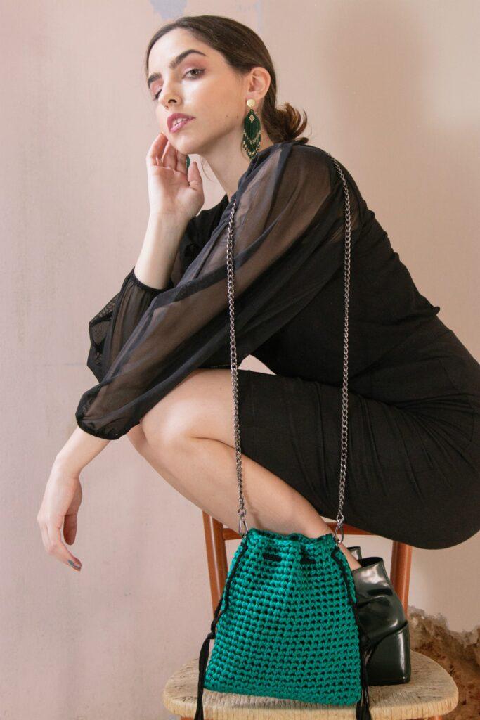 handmade luxury crochet pouch bag in green