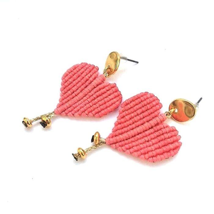 Pink hearts macrame earrings