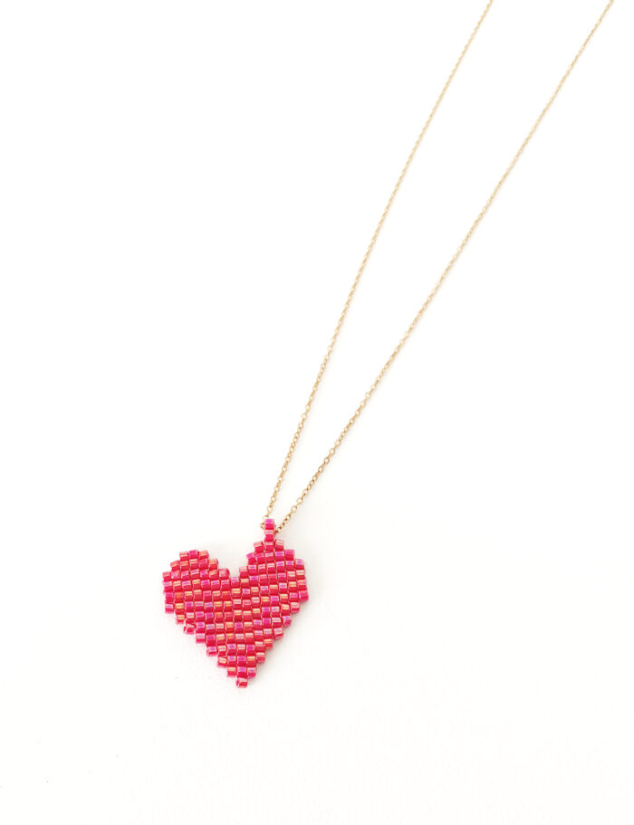 handmade heart beaded pendant