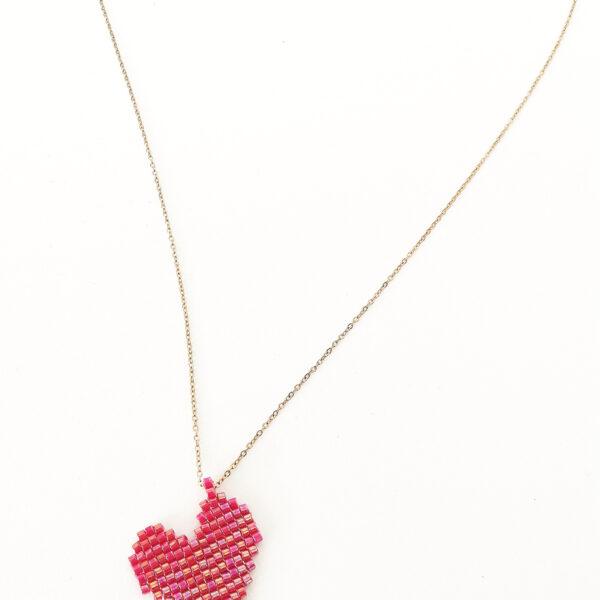 handmade heart beaded pendant