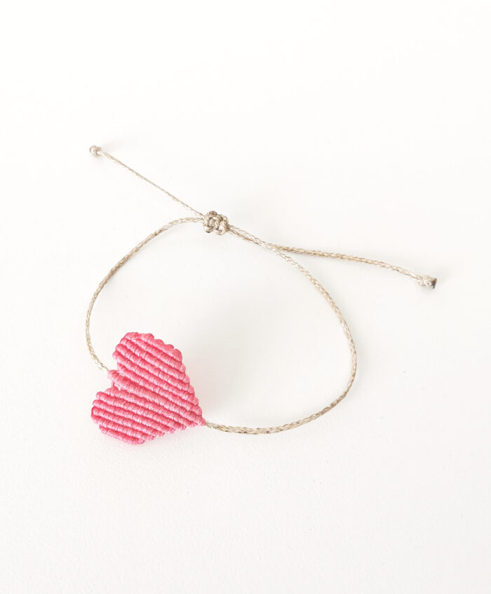 handmade pink macrame bracelet