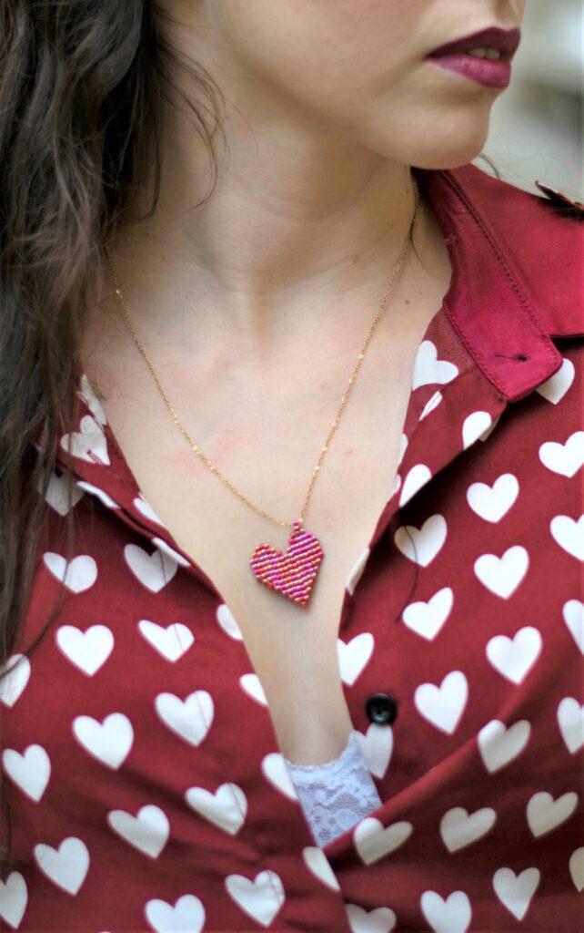 Medium heart beaded pendant