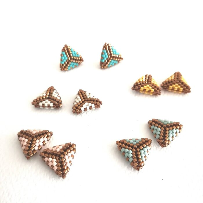 Small triangle beaded stud earrings