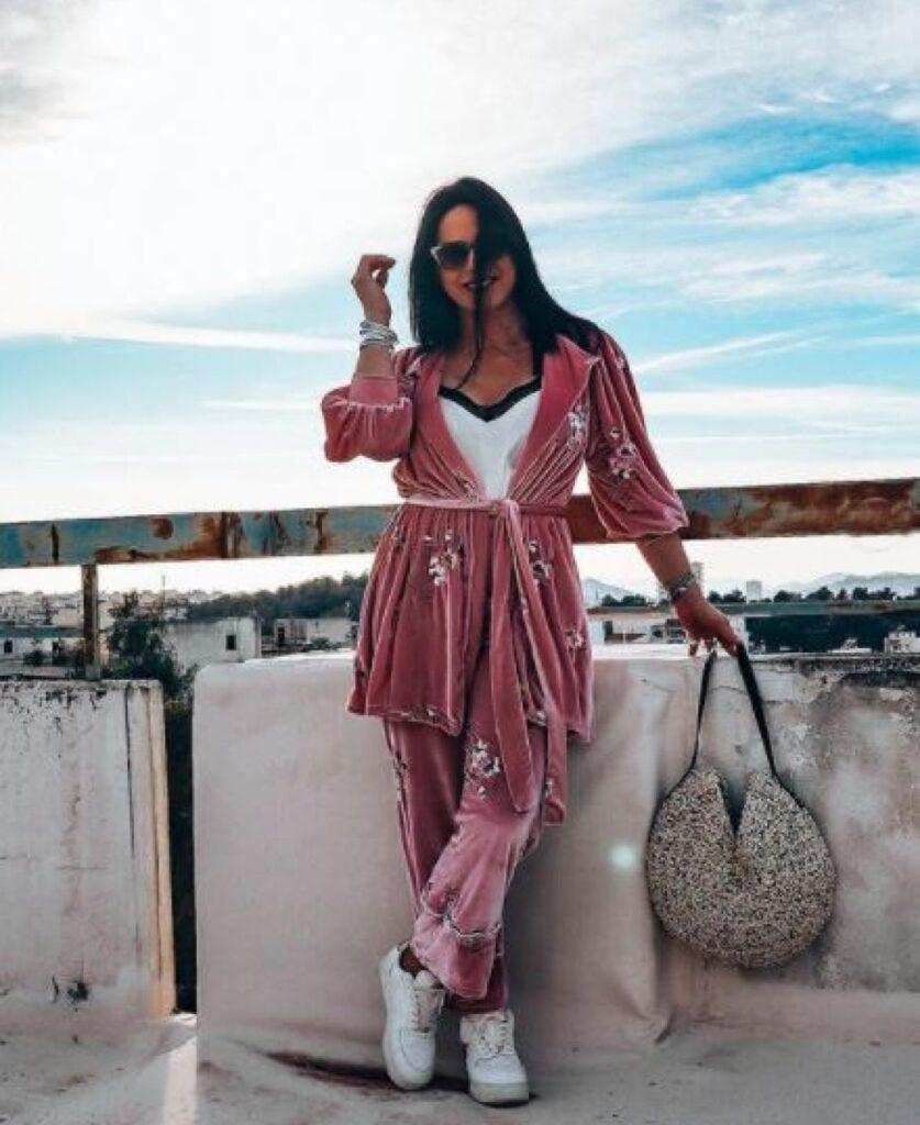 Ioanna Pilichou wearing SEN handmade round hobo bag