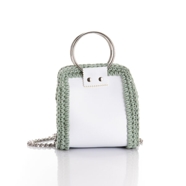 medium size handmade bag made of eco leather and cotton yarn in white and mint green