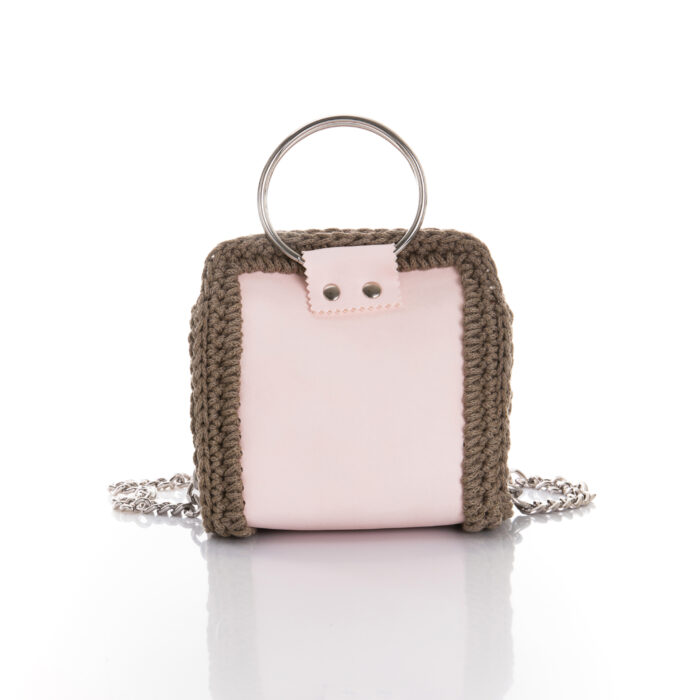 medium size handmade bag made of eco leather and cotton yarn in light pink and chocolate brown