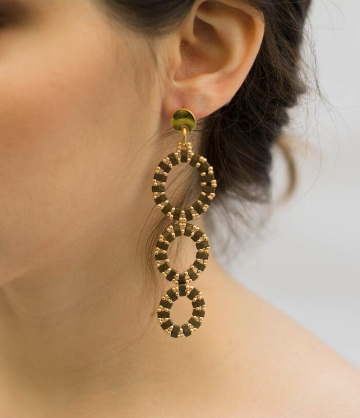 Circles long earrings brown gold