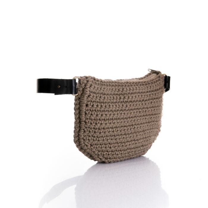 big handmade crochet waistbag in chocolate brown,