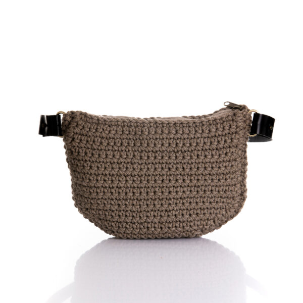 big handmade crochet waistbag in chocolate brown,
