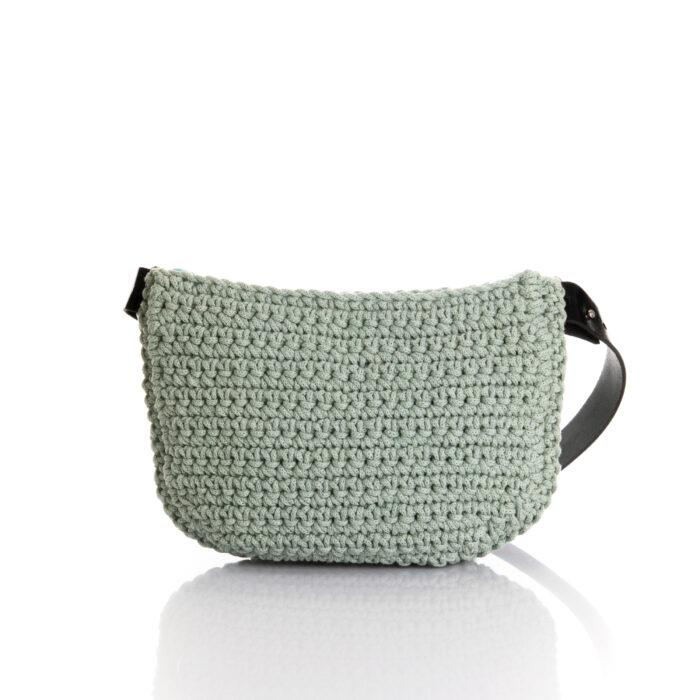 big handmade crochet waistbag in mint green