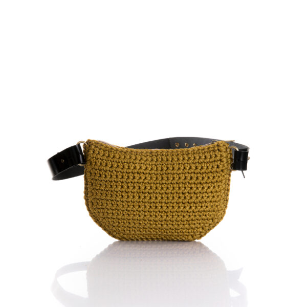 small handmade crochet belt bag in mustard ppl yarn