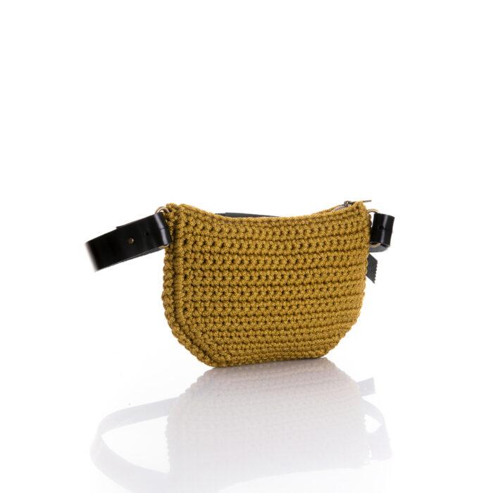 small handmade crochet belt bag in mustard ppl yarn