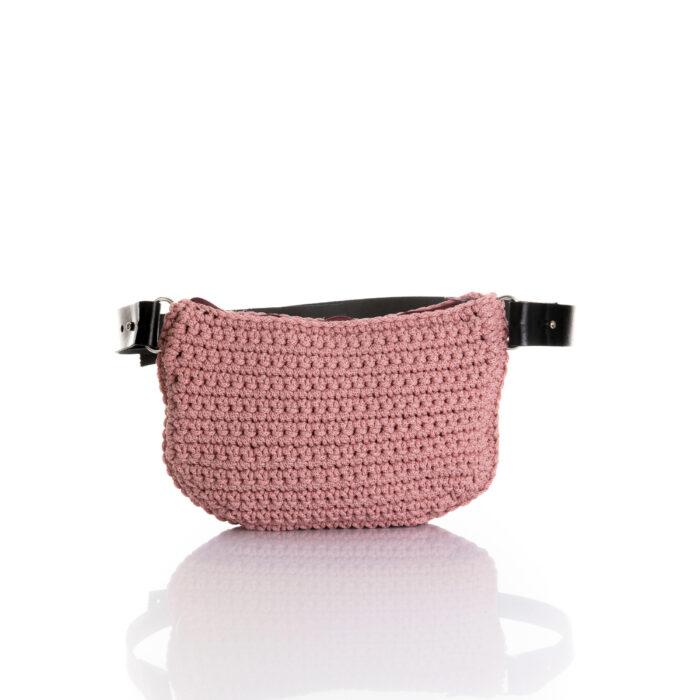 small handmade crochet belt bag in dusty pink ppl yarn