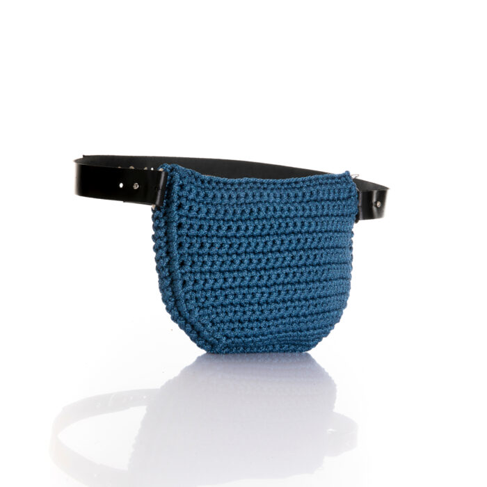 medium handmade crochet waistbag in sparkle blue jean color ppl/metallic yarn