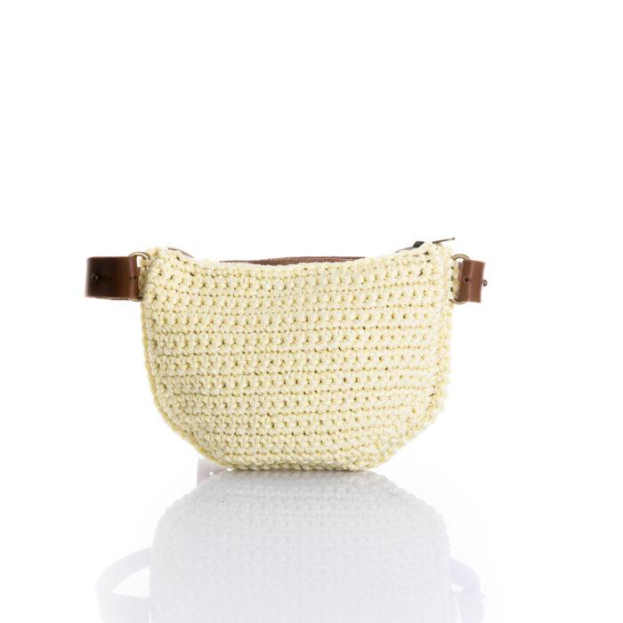 medium handmade crochet waistbag in summer light yellow cotton cord