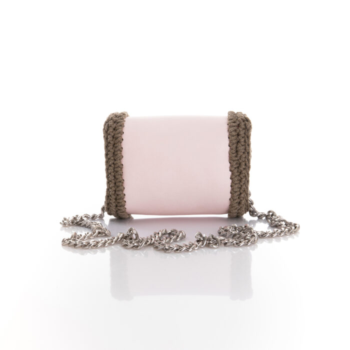 mini flap bag made of eco leather and cotton yarn, in pink and chocolate brown