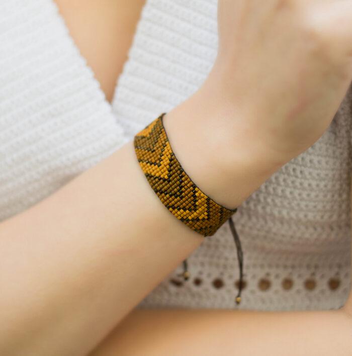 Grecian loom beaded bracelet arrows brown