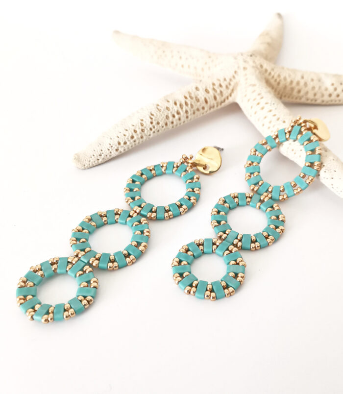 Circles long earrings in turquoise and gold