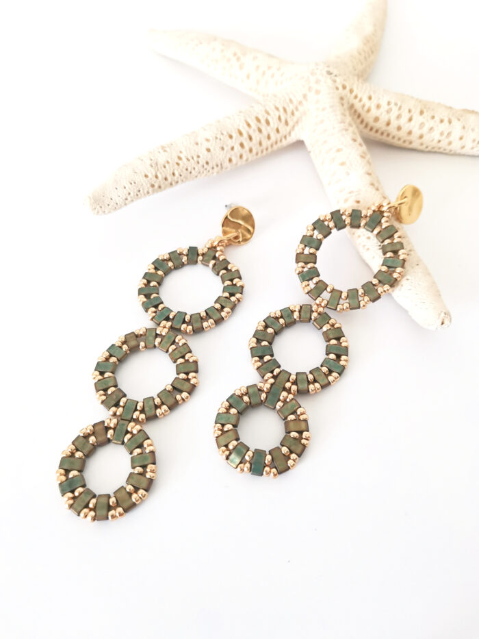 Circles long earrings in olive green and gold