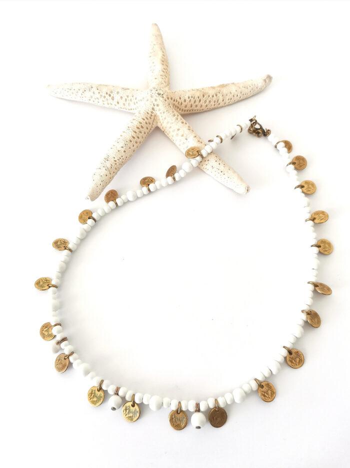 white reef boho necklace