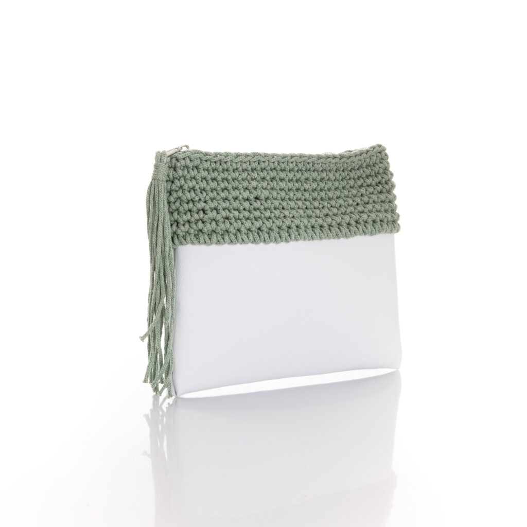 zipper mini bag made of white eco leather and mint green cotton yarn