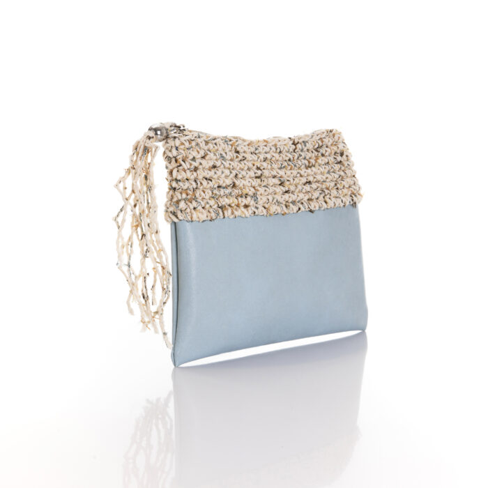 zipper mini bag made of light blue eco leather and sumer white cotton yarn