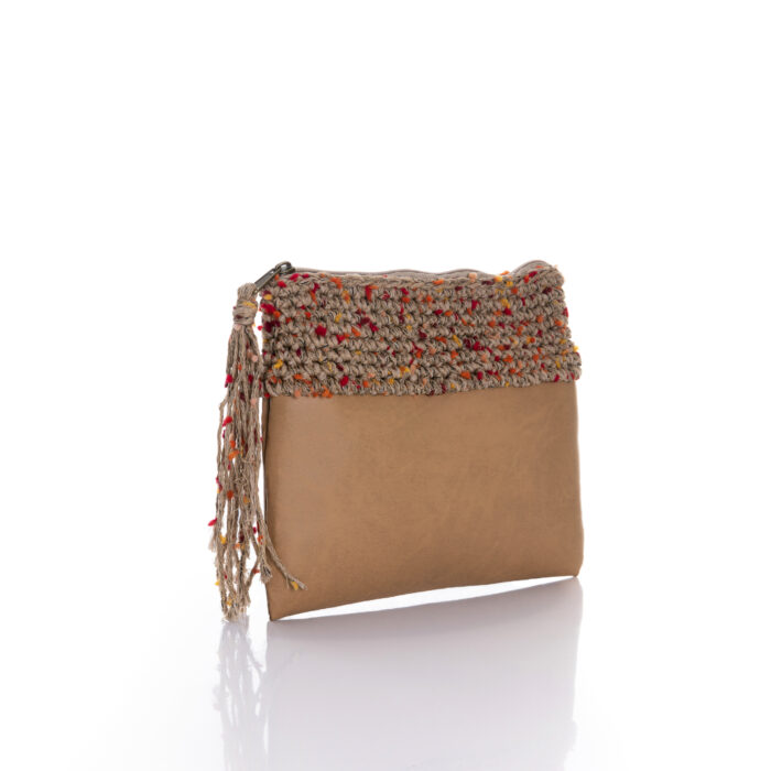 zipper mini bag made of tabaq eco leather and summer sand multi cotton yarn