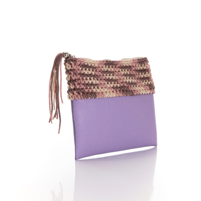 zipper mini bag made of lilac eco leather and pink multi cotton yarn