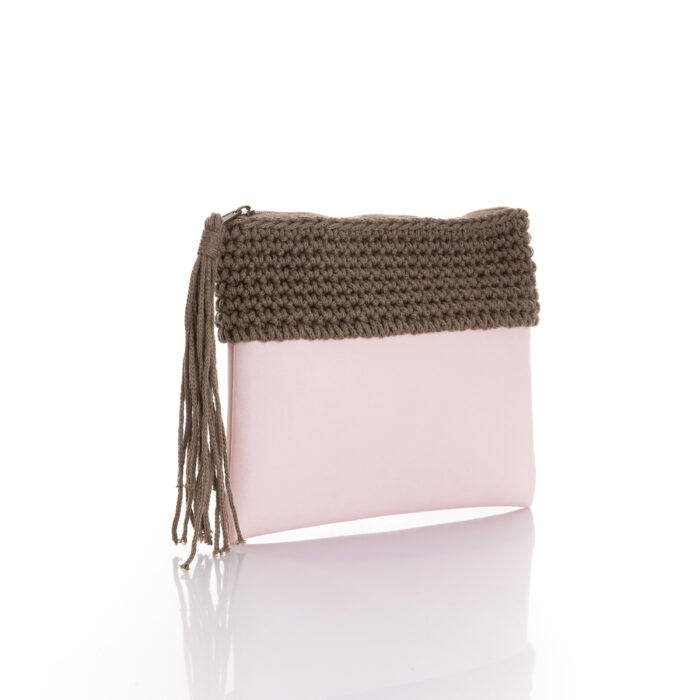 zipper mini bag made of light pink eco leather and brown chocolate cotton yarn