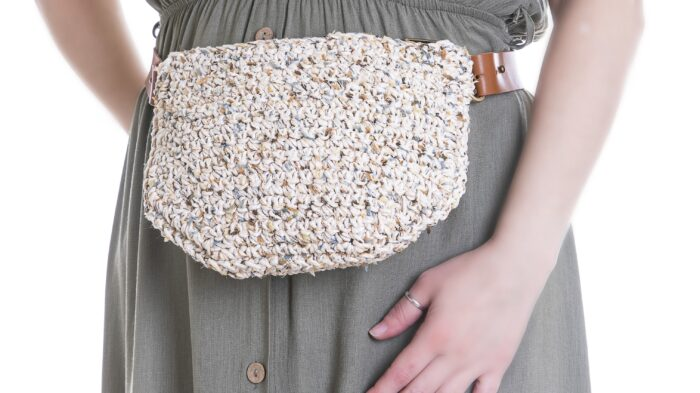 medium handmade crochet waistbag in summer white multi cotton cord