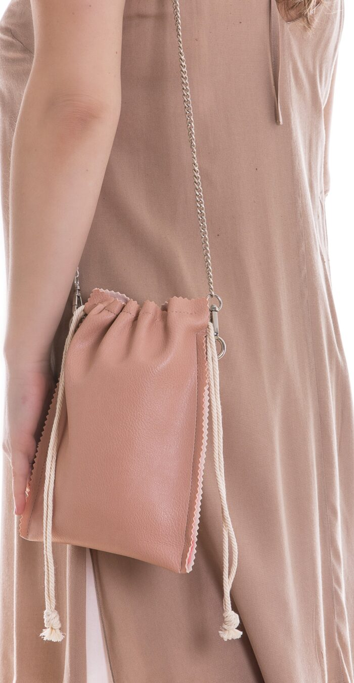 small eco leather pouch bag in light pink