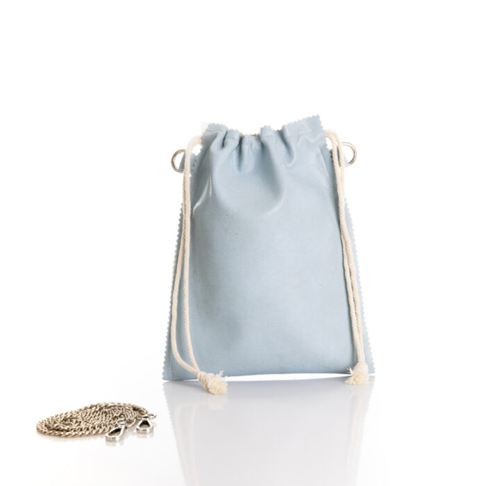 small eco leather pouch bag in light blue