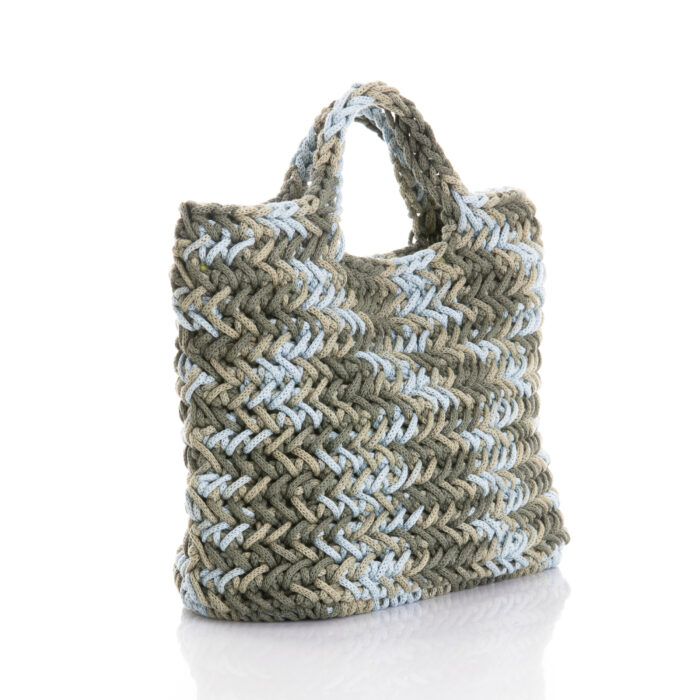 medium crochet tote handle made of cotton yarn in light blue, olive green shades