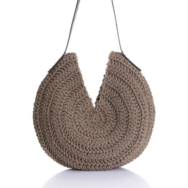 handmade brown hobo round bag