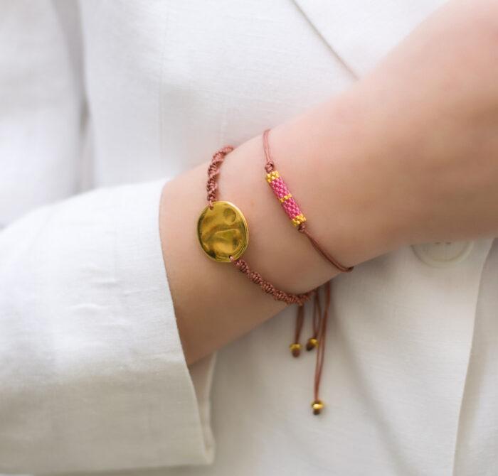hammer disc and mini bars bracelets pink