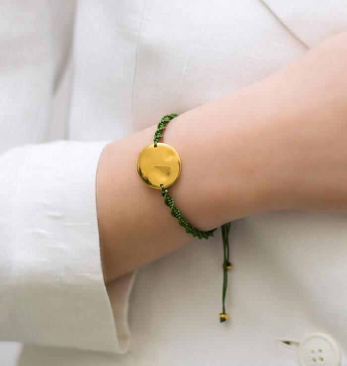 hammer disc bracelet olive green