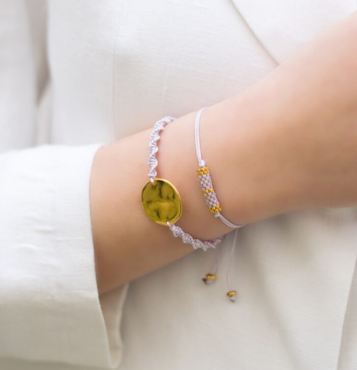 hammered disc and beaded bar lilac bracelets