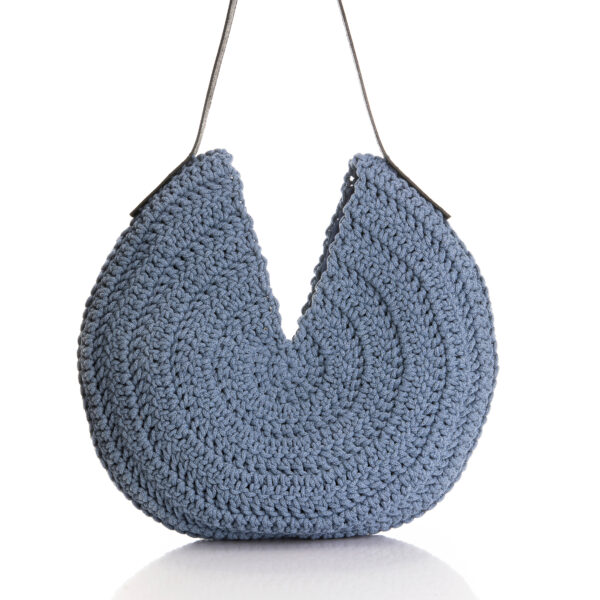 round hobo bag in jean blue color