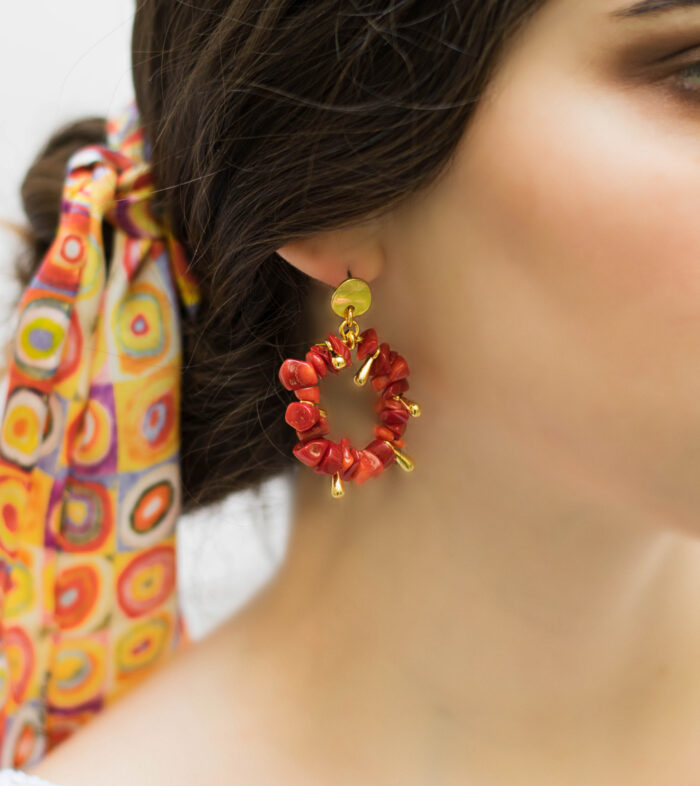 red corals earrings