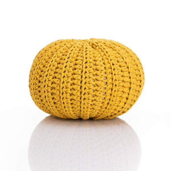 crochet pouf in yellow