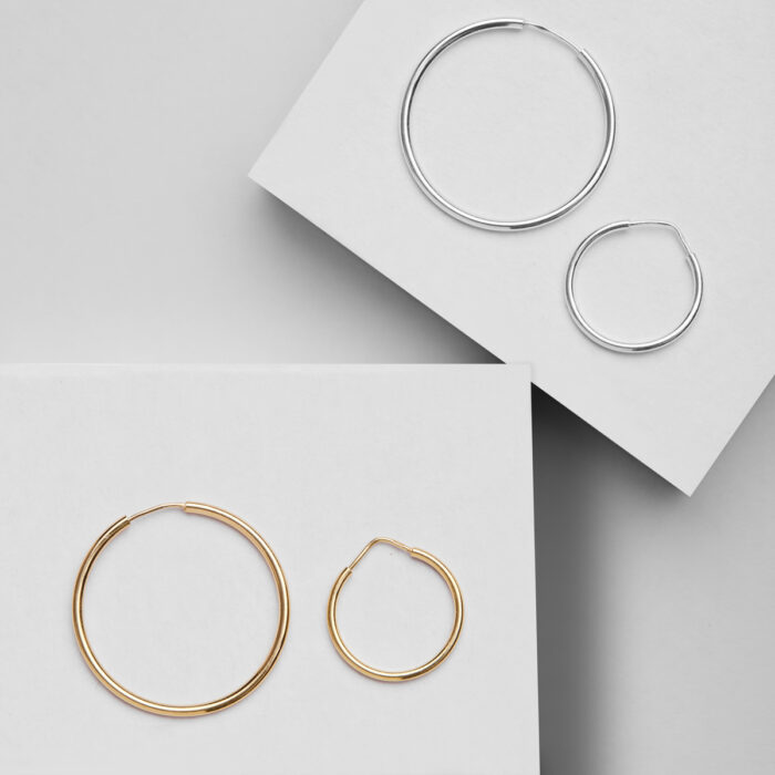 silver and gold earring hoops