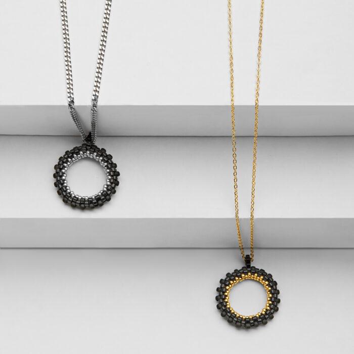 mini handmade circle beaded pendants
