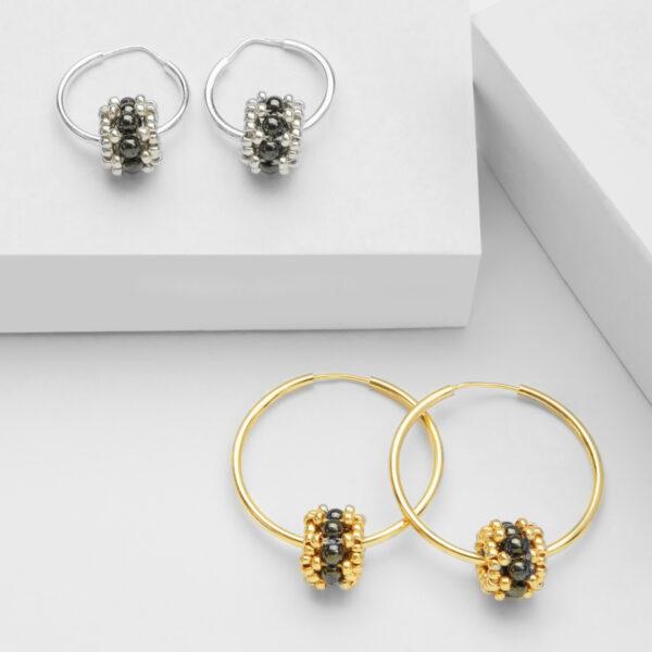 hematite earring hoops