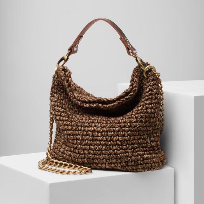 Handmade crochet medium hobo bag in brown shades