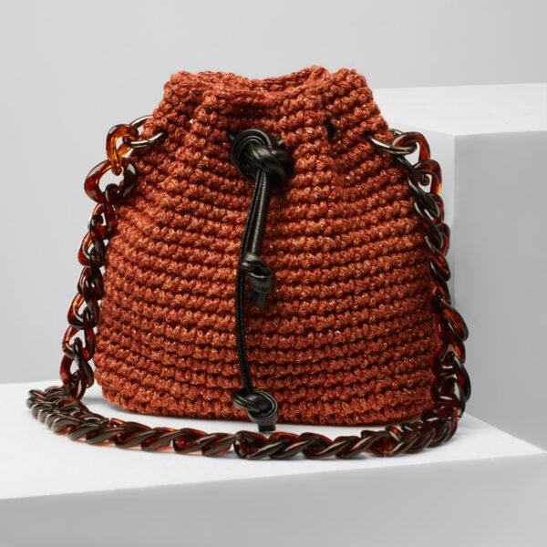 handmade crochet mini bucket bag