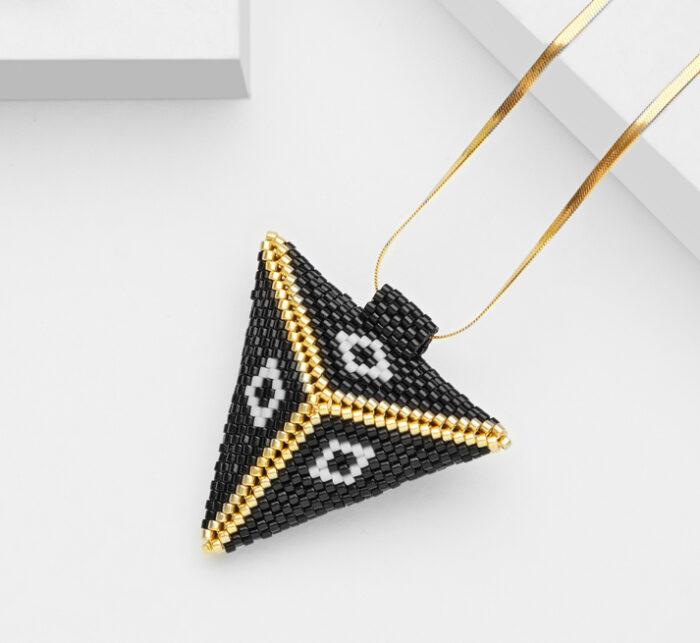Large Gold 3D beaded pendant