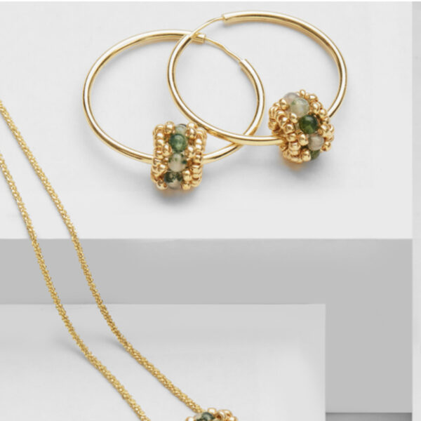 Gold Plated Siver earring hoops with green agate beads