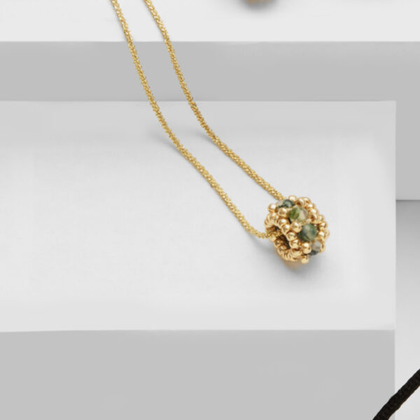 agate green gold pendant in gold plated silver 925 chain