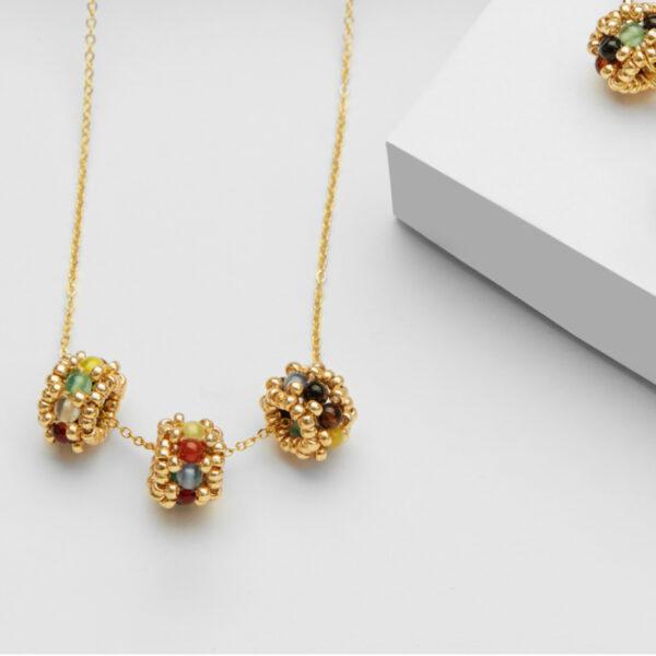 agate multi triple beads pendnat in gold