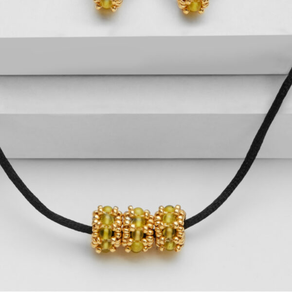 green jade triple bead pendant